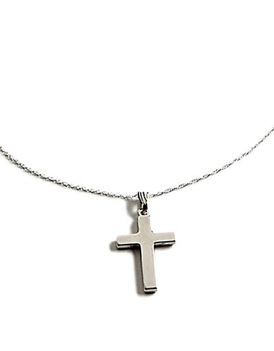 LORD & TAYLOR 14 Kt White Gold Cross Pendant Necklace