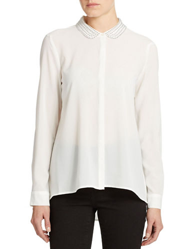 CHAUS Jeweled Collar Blouse