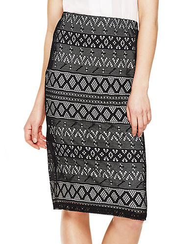 VINCE CAMUTOLace Striped Pencil Skirt