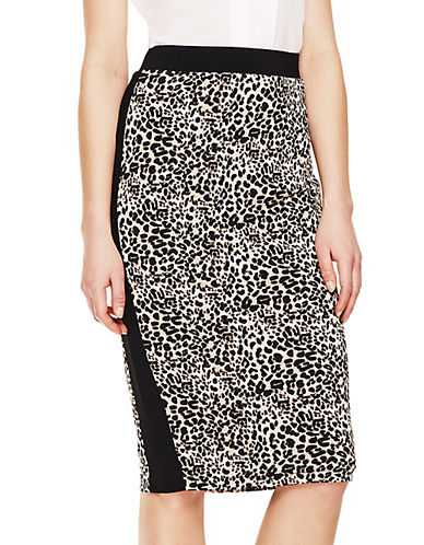 VINCE CAMUTOTuxedo Striped Leopard Pencil Skirt