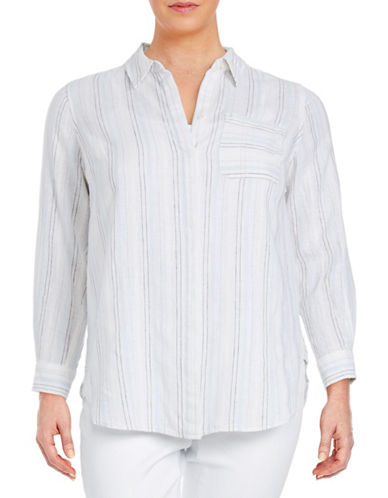 Plus Striped Linen-Blend Shirt plus size,  plus size fashion plus size appare