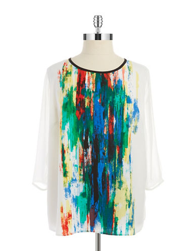 Vince Camuto Plus Plus Paint Splattered Blouse