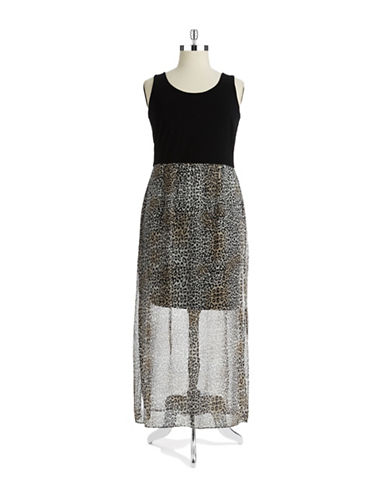 VINCE CAMUTO PLUSPlus Leopard Print Maxi Dress