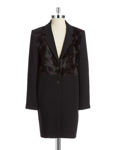 VINCE CAMUTOFaux Fur Accented Two Button Jacket