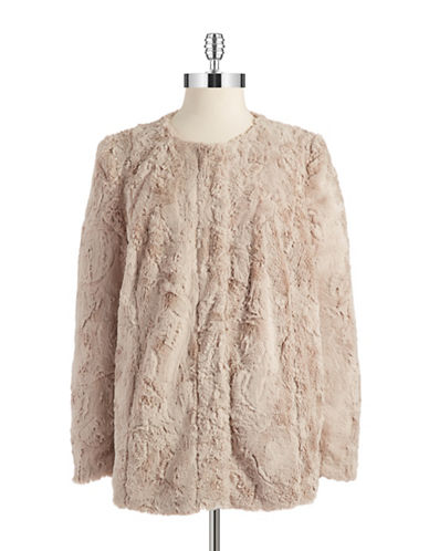 VINCE CAMUTO Faux Fur Zipper Closure Jacket