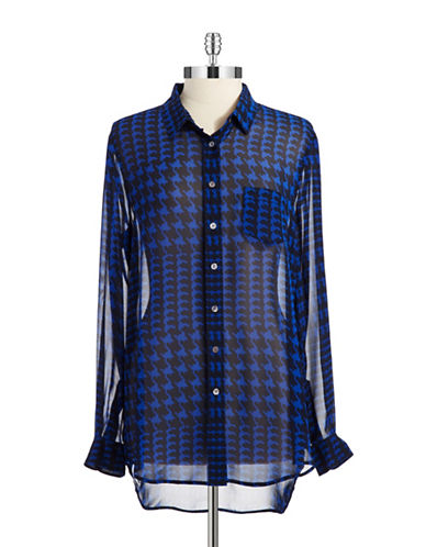 TWO BY VINCE CAMUTO Houndstooth Sheer Blouse