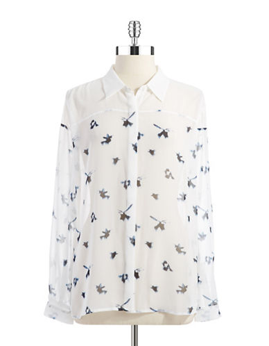 TWO BY VINCE CAMUTO Sheer Button Down Blouse