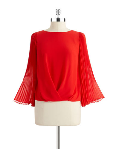 VINCE CAMUTOPetite Pleated Sleeve Blouse