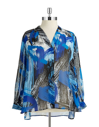 Vince Camuto Plus Plus Brushstroke V-Neck Blouse