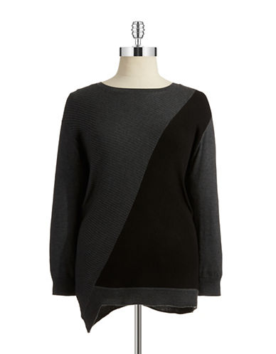 Vince Camuto Plus Plus Asymmetrical Colorblock Sweater