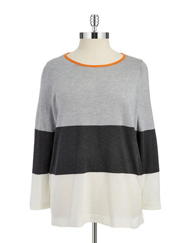 Vince Camuto Plus Plus Color Block Striped Sweater