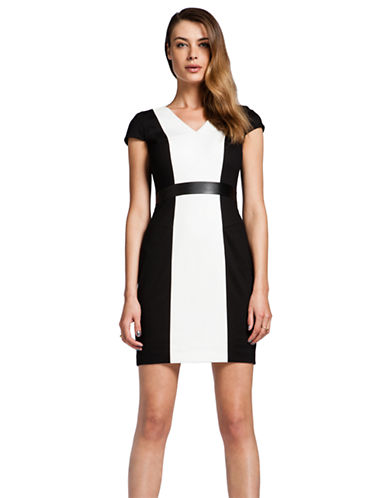 CYNTHIA STEFFEFaux Leather Trim Colorblock Dress