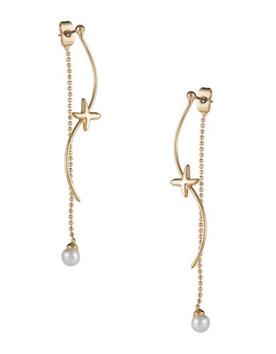 ROBERT ROSE Faux Pearl Accented Double Linear Drop Earrings