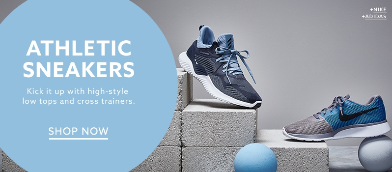 Adidas blue sneaker and Nike gray and blue running shoe at  lordandtaylor