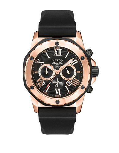 BULOVA Mens Rose-Gold Rubber-Strap Chronograph Watch