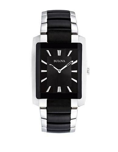 BULOVAMens Stainless Steel and Black Bracelet Watch