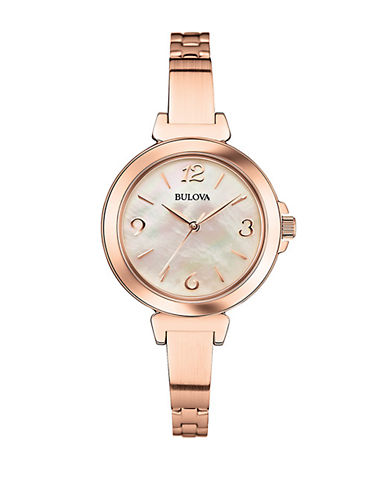 BULOVA Ladies Rose Gold-Tone Dress Collection Bracelet Watch