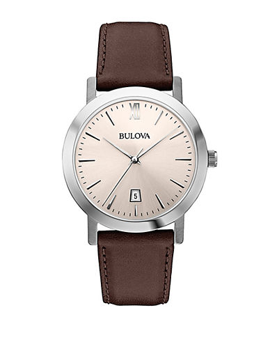 BULOVA Mens Stainless Steel Dress Collection Watch with Leather Strap