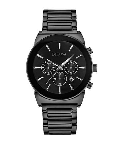 BULOVAMens Black Stainless Steel Chronograph Watch