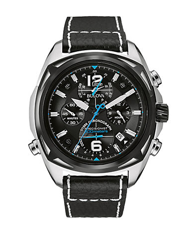 BULOVAMens Silvertone and Leather Chronograph Watch