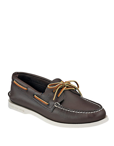 SPERRY TOP-SIDER Classic Brown A/O 2-Eye Leather Boat Shoe - Smart Value