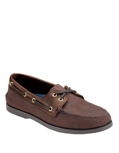 SPERRY TOP-SIDERBrown Buc A/O 2-Eye Leather Boat Shoe - Smart Value