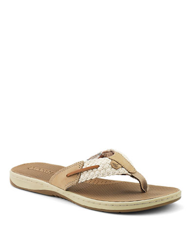SPERRY TOP-SIDERParrotfish Leather and Fabric Thong Sandals