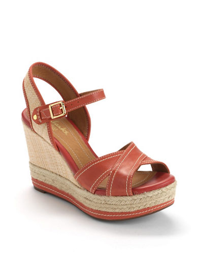 CLARKS Amelia Air Leather Platform Wedge Sandals