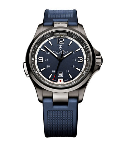 VICTORINOX SWISS ARMYMens Night Vision Stainless Steel Watch with Rubber Strap
