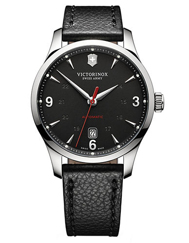 VICTORINOX SWISS ARMYMens Mechanical Stainless Steel and Leather Watch