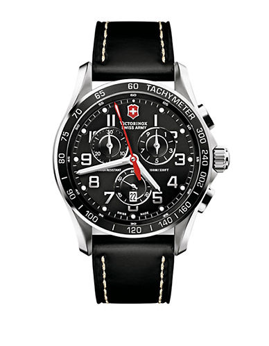VICTORINOX SWISS ARMY Mens Chronograph Classic XLS Stainless Steel and Black Leather Watch