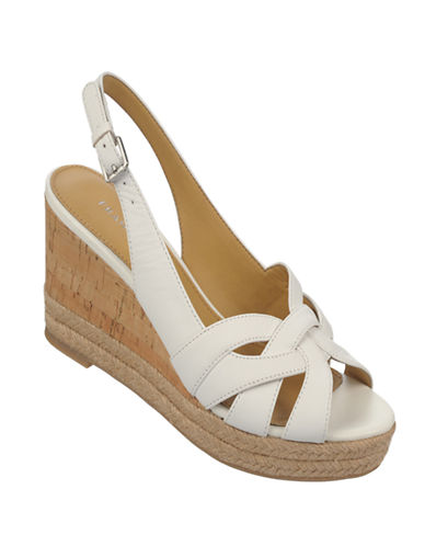 FRANCO SARTO Kris Leather Wedge Sandals