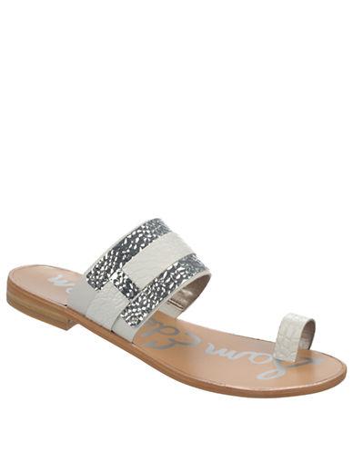 SAM EDELMANCarnie Leather and Metal Slide Sandals
