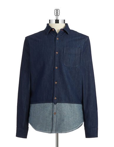 ORIGINAL PENGUIN Colorblocked Chambray Shirt