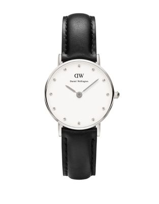 Classy Sheffield Stainless Steel Black Leather Strap Watch, 26 Mm by Daniel Wellington