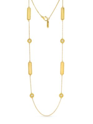 Diamond And 18 K Yellow Gold Station Necklace by Roberto Coin