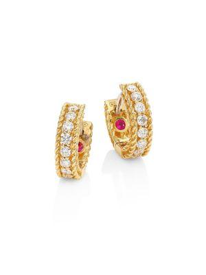 Symphony Braided Diamond & 18 K Yellow Gold Huggie Hoop Earrings by Roberto Coin