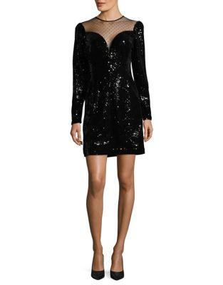 Long Sleeve Sequin Velvet Sheath Dress