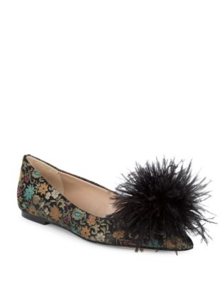Reina Floral Brocade Feather Ballet Flats by Sam Edelman