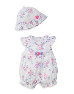 Baby Girl's Two Piece Whimsical Romper And Hat Set by Little Me