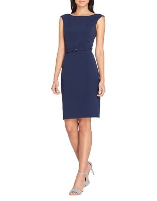Belted Cap Sleeve Sheath Dress by Tahari Arthur S. Levine