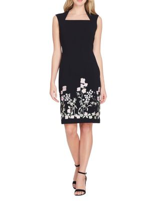 Portrait Neck Embroidered Sheath Dress by Tahari Arthur S. Levine