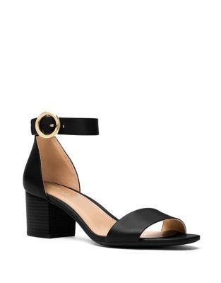 Lena Flex Mid Leather Ankle Strap Sandals by Michael Michael Kors
