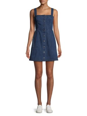 Denim Fit And Flare Pinafore Dress by Highline Collective