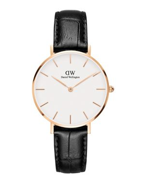 Classic Petite Reading Leather Strap Watch by Daniel Wellington
