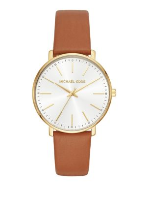 Pyper Goldtone And Leather Strap Watch by Michael Kors