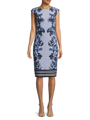 Printed Cap Sleeve Sheath Dress by Vince Camuto