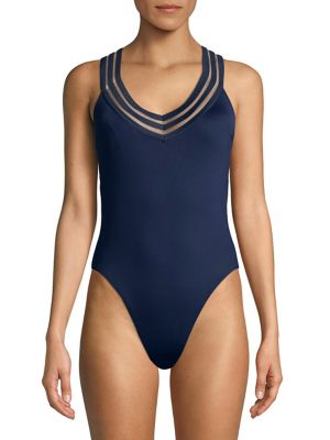 Stomin In Stilettos V Neck One Piece Swimsuit by Kenneth Cole Reaction