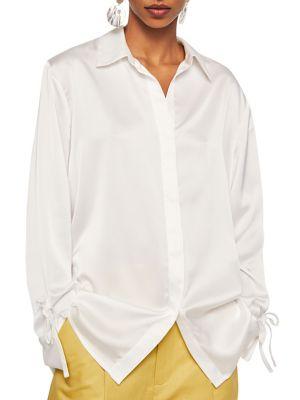 Cuarzo A Satin Button Down Shirt by Mango