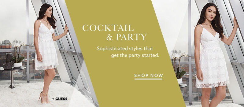 Guess white empire-waist dress and more party attire at lordandtaylor.com.